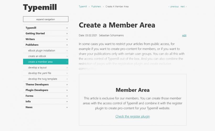 Screenshot member area for typemill