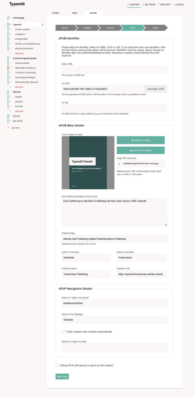 Screenshot ePUB settings