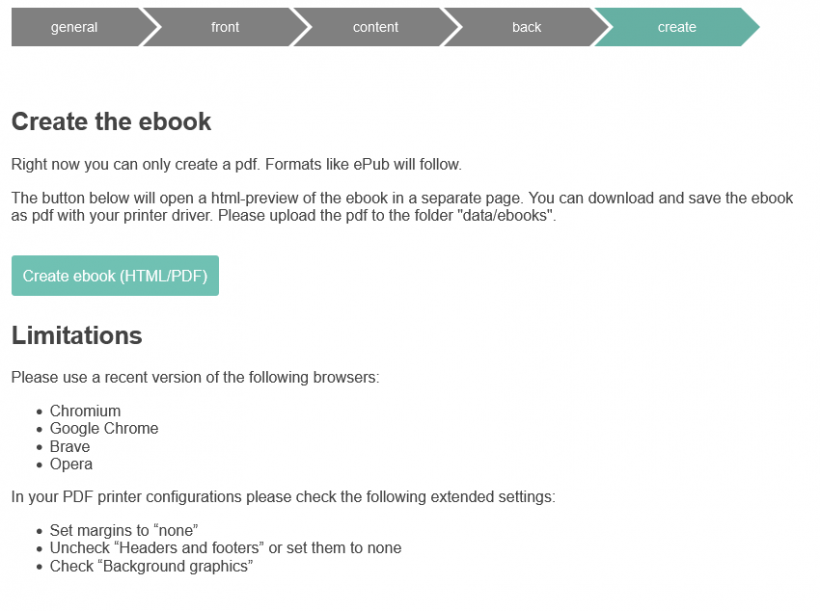 Screenshot generate eBook button with further instructions